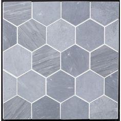 "Beltile Grey Bardiglio Marble Hexagon 4"" Honed - 4"" - BelTile Tile and Stone including Hexagon Tile and Subway Tile"