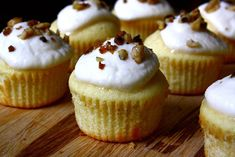 Vanilla Cupcakes with Honey-Ricotta Frosting and Toasted Walnuts. There's nothing that ruins a cupcake more than really icky, sugary icing. That's why these little guys look so, so delicious with their creamy ricotta and honey frosting. So grown up! #WALNUTS
