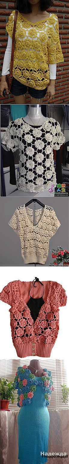 Roses in a different interpretation of crochet. Crochet Jumper, Crochet Coat, Crochet Books, Thread Crochet, Irish Crochet, Crochet Clothes, Crochet Lace, Crochet Bikini, Crochet Fashion