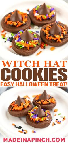 Are you looking for a super quick and easy Halloween treat to make with your kids? With just the right amount of both trick and treat, these witch hat cookies need to be at the top of your list! I'm one of those moms who thinks that Halloween is awesome. And by extension, Halloween food is AWESOME. It's cute, creative, fun…and most of all: tasty! | @made_in_a_pinch #easyhalloweentreats #easyhalloweencookies #witcheshatcookies #halloweencookies Halloween Treats To Make, Halloween Cookies, Easy Halloween, Kids Meals, Family Meals, Easy Meals, Witch Hat Cookies, Gel Food Coloring, Chocolate Decorations