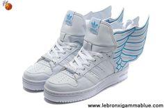 Buy Discount Adidas X Jeremy Scott Wings 2.0 Shoes White Blue Sports Shoes Shop