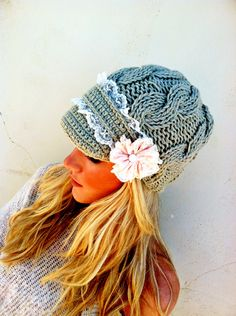 Lacy Cable Knitted  Khaki Taupe Hat Winter Cap with Lace SPECIAL ORDER. $42.00, via Etsy...no pattern, but good inspiration