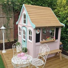 Find out how to turn a cheap Kmart cubby into the play house of your children's dreams with our Kmart cubby house hacks roundup. So many amazing DIY ideas! Outside Playhouse, Garden Playhouse, Girls Playhouse, Build A Playhouse, Playhouse Outdoor, Playhouse Ideas, Kids Cubby Houses, Kids Cubbies, Play Houses