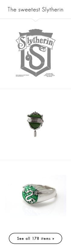 """""""The sweetest Slytherin"""" by ugly-boi ❤ liked on Polyvore featuring harry potter, slytherin, jewelry, brooches, enamel jewelry, pin jewelry, enamel brooches, pin brooch, rings and earrings"""