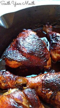 "South Your Mouth: Sticky Chicken... slow roasted chicken that ""stews"" in a light easy to throw together sauce. SO GOOD!"