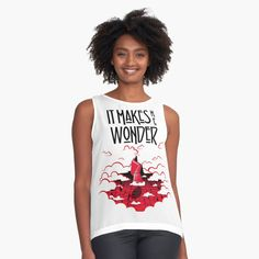 Custom Tank Tops, Rock Shirts, Womens Sleeveless Tops, Black And White Drawing, Black White Fashion, Cute Tshirts, T Shirts For Women, Clothes For Women, Chiffon Tops