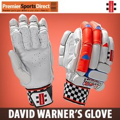 Glovely Stuff: Check out the Gray-Nicolls Kaboom David Warner Signature Batting Glove.  Designed in conjunction with & used by Australia's explosive opening batsman. Premier #Sports Direct.