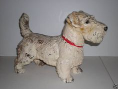 Antique Vtg Old Lg Hubley Cast Iron Metal Doorstop Sealyham Dog Statue Door Stop