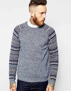 Image 1 of ASOS Lambswool Rich Jumper with Fairisle Sleeves