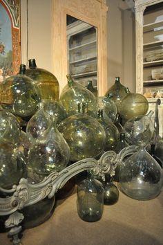 Set of 40 French Vintage Green Glass Demi John Wine Bottles
