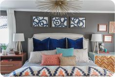 Gorgeous Master Bedroom - walls are Black Fox by Sherwin Williams