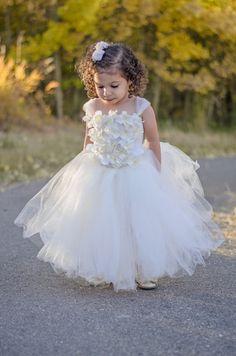 Tutú marfil vestido de niña de las flores, parte superior de la flor, tutús bebé, vestido del tutú del niño