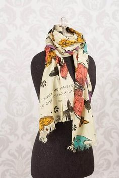 """Size: 19.5"""" W x 71"""" L- 49.5cm W x 180.3cm L - 100% Viscose Scripture Scarf with fringe! Bird and butterfly print on creamy pale green backdrop; aqua, orange, an"""