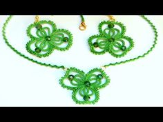 Серьги, кулон Лист клевера фриволите иглой анкарс. DIY Earrings pendant Leaf clover frivolite needle - YouTube