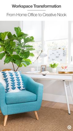 Transform your work space at home into an inspiring creative nook by pairing a minimalist desk with a comfy, colorful club chair and adding a large structural plant. Shop stylish office supplies and furniture in store or Target.com.