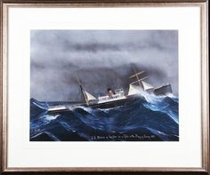 Art Auction - LUIGI ROBERTO (1845 - 1910) Italian gouache on paper, Stormy maritime seascape, titled and inscribed, 'S.S. Orsino of London in a Gale in the Bay of Biscay 1891'. For full description and condition report visit our website http://www.biddleandwebb.com