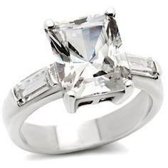 Magnificent 3.5CT Sterling Silver Emerald Cut Engagement Ring~free shipping~