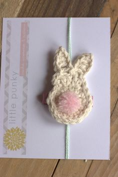 Crochet Bunny - Bunny Hair Clip - Easter Hair  accessory!  No need to attach a band.  Girlie Glue can stick it right on and washes off easily with water!  All natural!  girlieglue.com