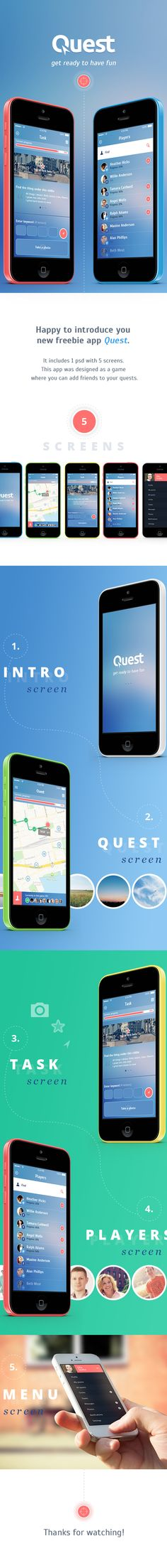 Quest. Free iOS7 App by Olia Gozha, via Behance