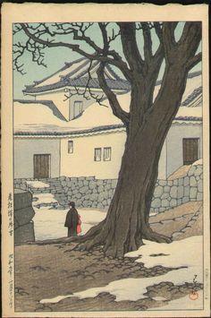 "Kawase Hasui, Lingering snow at Hikone Castle"", 1934"