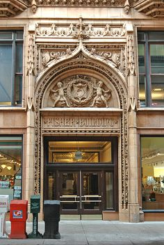 Van Buren Street entrance to the Fisher Building at Van Buren and Dearborn Streets in Chicago, Illinois.