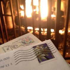 Oh the weather outside is frightful! #snailmail #snailmailrevolution #happymail #holidaycards #usps #uspsstamps #stamps #cozy #fire #fireplace