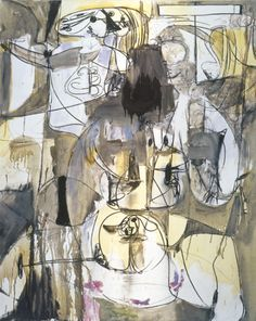 George Condo Gray Abstract Nude, 1989  Oil and charcoal on linen. 60 x 48 in. (152.4 x 121.9 cm)
