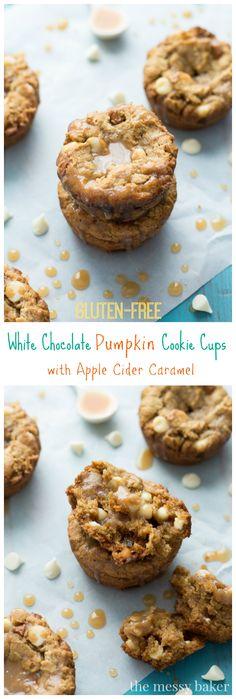 Gluten-Free White Chocolate Pumpkin Cookie Cups with Apple Cider Caramel   www.themessybakerblog.com