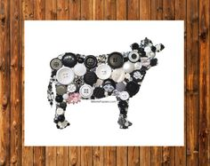 Hey, I found this really awesome Etsy listing at https://www.etsy.com/listing/211737222/holstein-cow-button-art-kitchen-wall-art