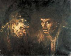 Mednyánszky László: Öreg és fiatal csavargó (1900 k., vászon, olaj, 60,5 x 75 cm)