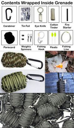 "Paracord ""Grenade"" Survival Kit! Inside you will find- Tin Foil, Eye Knife, Cotton Tinder, Fire Starter, Weights, Spinners, Fishing Hooks, Floats and Fishing Line, all wrapped up in paracord with a carabiner. Clips perfectly on your backpack or keychain!"