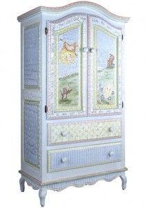 Hand painted nursery armoire.