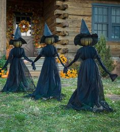 Nothing says Halloween like a trio of spooky witches ominously loitering in the . - Nothing says Halloween like a trio of spooky witches ominously loitering in the … – - Entrada Halloween, Soirée Halloween, Adornos Halloween, Manualidades Halloween, Scary Halloween Decorations, Holidays Halloween, Halloween Yard Displays, Halloween Sayings, Homemade Halloween