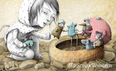 I have been swiftly falling in love with the adorable illustrations of Sonja Wimmer. Take a look and let them take you somewhere wonderfu. Art And Illustration, Caravaggio, Arte Pop, Funny Art, Great Artists, Caricature, Childrens Books, Fantasy Art, Fairy Tales