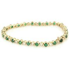 Vintage 14 Karat Yellow Gold Emerald Diamond Gemstone Tennis Line Bracelet