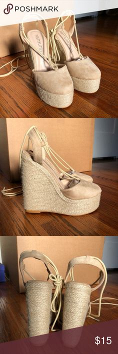 885fbccffe5c Brand New Aniesha Nude Faux Suede Tie Ankle Wedges Never worn PLT wedges  Didn t