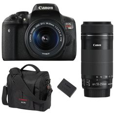 Canon EOS Rebel T6i DSLR Camera with 18-55mm/55-250mm Lenses, Battery & Camera Bag : DSLR Packages - Best Buy Canada