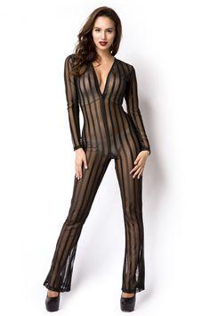 luxury & good Dessous Damen Overall Belle Lingerie, Catsuit, Sexy, Overalls, Jumpsuit, Pants, Transparent, Material, Fashion