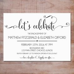 Engagement Invitations | Engagement Party Invite | Eat, Drink and ...