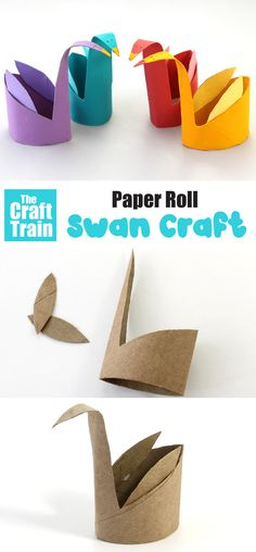 simple crafts for preschoolers The easiest paper roll swan craft ever! This is a fun craft idea for kids of all ages and is so simple to make with a squash, cut and fold technique. A fun way to recycle toilet rolls Toilet Paper Roll Diy, Paper Towel Roll Crafts, Paper Folding Crafts, Towel Crafts, Paper Crafts Origami, Paper Crafts For Kids, Crafts To Make, Toilet Roll Crafts, Toilet Roll Art
