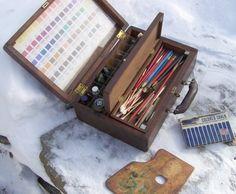 vintage artist's kit in walnut