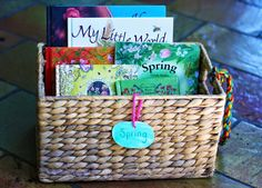 Like the idea of organizing the kids books in baskets according to theme and even own baskets according to age