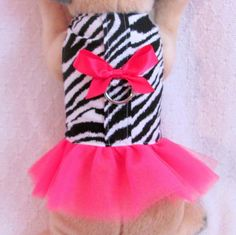 XS Dog Clothes ZEBRA HOT PINK TUTU Outfit Harness Dress Girl Female THE WHITE PEACOCK