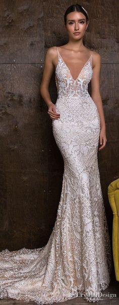 crystal design 2018 sleeveless deep v neck full embellishment elegant sheath fit and flare wedding dress open v back medium train (esben) mv -- Crystal Design 2018 Wedding Dresses