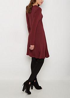 Burgundy Brushed Swing Dress