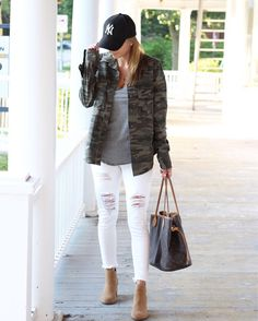 Military camo look for fall! Fall style featuring camo button down shirt from…