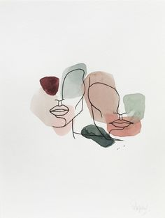 ANML studio's emotionally evocative work aims to draw in the viewer by revealing intimate situations, aspects of the human experience, and evidence of the mindset/process of the artist. Art Sketches, Art Drawings, Abstract Face Art, Minimalist Drawing, Aesthetic Art, Art Inspo, Line Art, Watercolor Art, Original Artwork