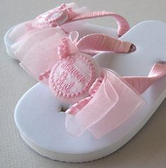 Bride & Wedding Flip Flops ~ These sweet little Flower Girl flip flops with sheer triple bows are even better personalized with her name!!!
