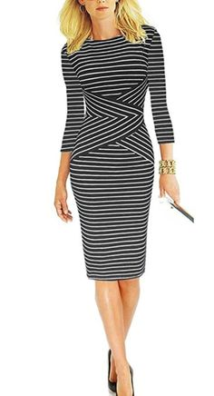 Sunblume Women's 3/4 Sleeve Striped Casual Wear to Work Pencil Bodycon Dress at Amazon Women's Clothing store:  True to size and looks great on!  One of my go to dresses for sure  (#affiliate)