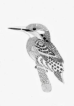 Efie goes Zentangle: weer een vogeltje voor Ben Kwok